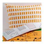 IKEA/イケア ONSKEDROM 掛け布団カバー&枕カバー, オレンジ, グリーン/ホワイト (502.895.98)