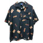 インターブリード INTERBREED 半袖シャツ RAW × INTERBREED PACKAGE TEXTILE SHIRT 総柄 コラボ ロウ ブラック