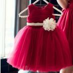 ピアノ 親子 赤 ドレス ペア 結婚式 フォーマル 子供 女の子 七五三 発表会 ジュニアドレス レッド 80-150