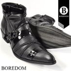 ショッピングエナメル 靴 エナメル クロスベルト バックル ショートブーツ 紳士靴 メンズ(ブラック黒) 3259