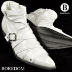 ショッピングエナメル 靴 エナメル クロスベルト バックル ショートブーツ 紳士靴 メンズ(ホワイト白) 3259