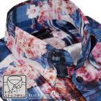 BlackVaria ドレスシャツ ドゥエボットーニ シャンタン チェック 花柄 薔薇 スナップダウン シャツ 日本製 mens メンズ(ブルー青ピンク桃) 161914