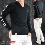 VIOLA rumore ヴィオラルモア Tシャツ Vネック 袖ロゴ 長袖 メンズ(ブラック黒) 71119