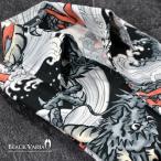 シャツ 和柄 龍 波 アロハ メンズ イタリアンカラー スキッパー ドレスシャツ(ブラック黒グレー灰) 935154