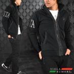 VIOLA rumore ヴィオラルモア フルジップジャケット PUレザー 切替 迷彩柄ロゴ メンズ(ブラック黒) 71123