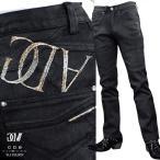 GD8 グラディエイト GLADIATE デニム パンツ メンズ コーティング 光沢 スリム 刺繍 ストレート 英字 ロングボトム(ブラック黒) 463864