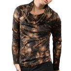 ショッピングタートルネック タートルネック ムラ柄 カットソー メンズ オフタートル ボリュームネック 長袖 Tシャツ(ブラウン茶ブラック黒) 965
