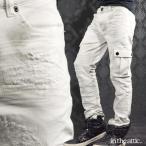 カーゴパンツ デニム ダメージ メンズ リペア ウォッシュ加工 ムラ モトクロス スリム バイカーパンツ ジーンズ(ホワイト白) 1711711
