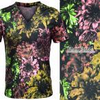 Tシャツ Vネック 花柄 ボタニカル リーフ リゾート 日本製 メンズ 半袖Tシャツ(ブラック黒ピンク桃) 170120