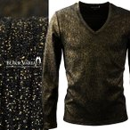 ラメTシャツ Vネック テレコ ラメ シンプル 長袖 メンズ カットソー 深Vネック トップス ロンT(ゴールド金ブラック黒) 329007