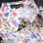 ドレスシャツ レギュラーカラー 花柄 水彩画 アート メンズ 日本製 綿サテン 細身 総柄 長袖シャツ(ホワイト白パープル紫) 935156