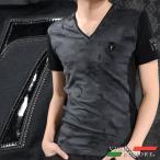 VIOLA rumore ヴィオラルモア Tシャツ Vネック 迷彩柄 バイヤスボーダー メンズ 細身 半袖Tシャツ(ブラック黒グレー灰) 71308