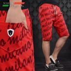 VIOLA rumore ヴィオラルモア ハーフパンツ メンズ 総ロゴ 総柄 膝上 スウェット ショートパンツ(レッド赤) 71338