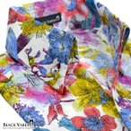 サテンシャツ スキッパー 花柄 メンズ 日本製 カラフル ジャガード ボタンダウン スリム パーティー ドレスシャツ(ホワイト白) 935171