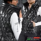 VIOLA rumore ヴィオラルモア ダウンベスト ダイヤキルト ハイネック フェザー フルジップアップベスト メンズ(ブラック黒) 81106