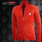VIOLA rumore ヴィオラルモア ジップアップブルゾン モールニット スタンドカラー ダブルジップ 長袖 ニットジャケット メンズ(レッド赤) 81137
