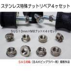 スノースクートBAK用専用ナットセットBIGラバーM8ボルト用10mmM8ステンレス製フランジナット4ヶセットSAS対応品スノーサイクルワールド特製品