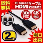 hdmiケーブル 2m 各種リンク対応 ハイスピード ブラック スリム 細線 PS3 PS4 3D 3D対応 ビエラリンク レグザリンク 4K HDMI ケーブル ハイスペック 1年保証の画像