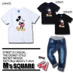 キッズ 男の子 女の子 Mickeyミッキープリント半袖Tシャツ ディズニー ミッキーマウス YE-41