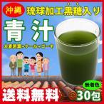 ショッピング琉球 国産 青汁30 (大麦若葉+ケール+ゴーヤ) 沖縄 琉球加工黒糖入り 3gx30包 (78669) 無着色 日本製 送料無料