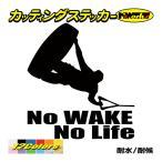 カッティングステッカー 〜No WAKE No Life (ウェイクボード)・2〜 車 バイク 窓 ガラス かっこいい クール 個性的 防水 デカール