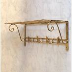 アイアン棚 オープンシェルフ デザイン棚 フック付き アンティーク調ゴールドカラー送料無料