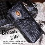 バイカーズウォレット 長財布 クロコダイル 財布・クラウンブラック タイガーアイ Harley-7
