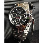 腕時計 メンズ テクノス TECHNOS メンズウォッチ クロノグラフ ブラック文字盤 TSM401SB 正規1年保証 送料無料