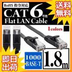 ウルマックスオリジナル  LANケーブル フラット CAT6準拠 ストレート イーサネットケーブル ツメ折れ防止カバー付 フラットLANケーブル ランケーブル RJ-45 カテゴリ6 Gigabit 爪折れ防止 スリムコネクタ  1.8m  黒