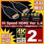 HDMIケーブル 2m HDMIver1.4 金メッキ端子 High Speed HDMI Cable ブラック ハイスピード 4K 3D イーサネット対応 液晶テレビ ブルーレイレコーダー UL.YN