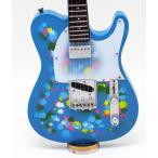 Musical Story ミニチュア ギター フィギュア 楽器 模型  テレキャスターブルー フラワー スタイル
