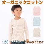 子供男児長袖肌着キッズインナー 草木染天竺ボーダー 男の子Tシャツ(120-150cm)