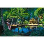 ハワイのジクレー版画アートプリント Tahitian Hut and Lei Girl (タヒチアン・ハット & レイ・ガール) by ハーブ・ケイン(Herb Kane)
