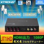 (JT1HD)地デジチューナ 全方位高感度 車載 1080P 4x4 フルセグ ワンセグ HDMI 出力対応 miniB-CASカード付き フィルムアンテナ 1年保証
