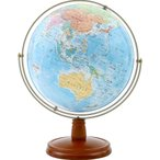 渡辺教具製作所:地球儀 WEジェミニ行政&地勢図(球径26cm・木台) W-2608 1個