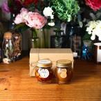 ナッツの蜂蜜漬けL(200g) + ピーナッツハニーL(200g) / ナチュラルクラフトボックス(M) + 麻紐リボン