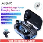 POWER3 TWSワイヤレス6DステレオBluetooth 5.0 + 3300mAhパワーバンクLED充電ボックス付きヘッドフォンミニヘッドフォンHIFI