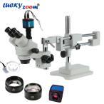 ステレオズーム顕微鏡 Luckyzoom 3.5X-90X ダブルブーム 三眼鏡 14MPカメラ 144LED 対物レンズ 研究