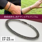 ショッピングチタン 純チタン&ゲルマニウム喜平ブレスレット(17-21cm) ダブル6面カット (メンズ・レディース) TGK-1-BB