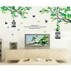 ウォールステッカー グリーンリーフの木と鳥かご 壁シール 緑葉 ツリー 大人気 はがせる 鳥籠 送料無料