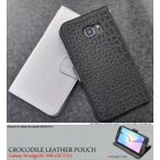 Galaxy S6 edge(SC-04G/SCV31) ケース 手帳型 クロコダイル合皮レザー ギャラクシーS6エッジ スマホカバー