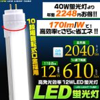 LED蛍光灯(40W型)昼白色 高発光効率(170lm/W)省エネ12W 119.8cm 全光束2040lm 2年保証・工事不要