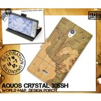 AQUOS CRYSTAL 305SH 手帳型 スマホケース レトロ地図柄 スマホカバー