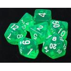 TRPG ボードゲーム カードゲーム 用 多面体 クリア サイコロ ダイス 緑色×7種