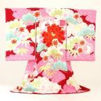 お宮参り レンタル 着物 女 赤ちゃん 初着 産着「JAPAN STYLE 赤地にうさぎと花 絵羽柄