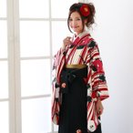 卒業式 袴 レンタル 女 袴セット 安い 卒業式袴セット2尺袖着物&袴 フルセットレンタル「クリーム地赤縦縞と白と赤の椿」安い  九重 ここのえ