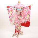 七五三 着物 7歳  レンタル 女の子 七五三フルセットレンタル 「ピンク地に白、赤のぼかし 桜、花、金糸の刺繍 鞠」