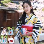 女性和服, Kimono - ときめきジュニア恋浴衣作り帯3点セット 浴衣 レディース sサイズ 140cm 150cm 浴衣 花柄 セット 作り帯 女の子 子供 中学生
