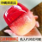 琉球グラス 送料無料 泡ハーフタル型コップ 赤 H80mm×W80mm