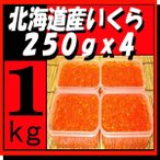 北海道十勝産いくら醤油漬1kg(250gx4) 天然鮭イクラ 『手作りで加工』 永原水産